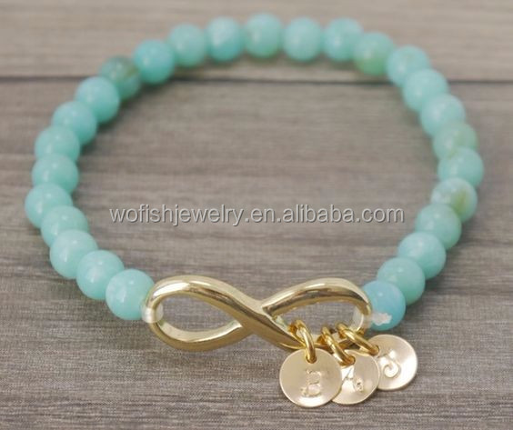 Personalized alpahabet disc charm with mint stone bead Bracelet
