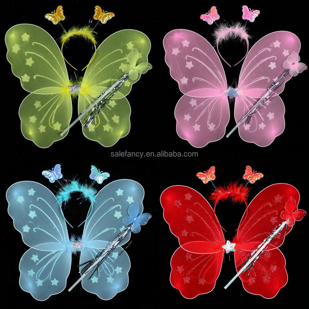 Colorful butterfly led wings with headband Magic wand wholesale QFW-1031