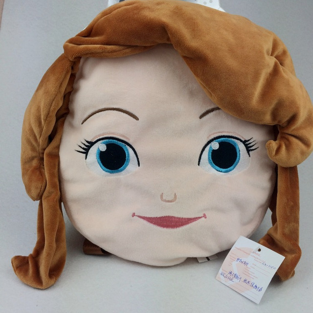 Wholesale Factory cute customized promational baby cheap cartoon plush toy Fashion 3D design girl head school cosmetic bags