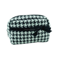Custom houndstooth pattern small clutch zipper cosmetic bag,pencil bag pouch for ladies