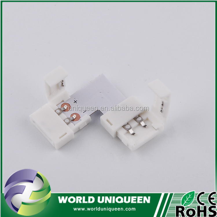 "White/Warm white/Red/Blue/Green/Yellow 5050 Single Color ""L"" Strip Connetor 10mm LED Connector 2 Pin ""L"" Shape"