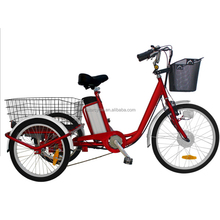 Open cargo 24''wheel lithium battery electric tricycle with pedal assisted