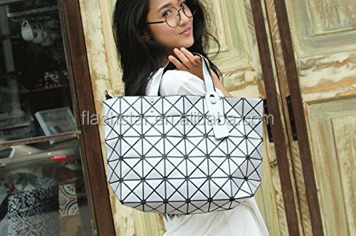 Dazzle Color Geometric Fold Rhombus Reflective Stitching Top Handle Handbags Shoulder bag With Big Capacity