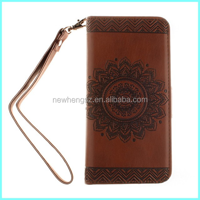 Luxury Retro embossed Flower Leather Wallet Flip phone case for iphone 6 plus