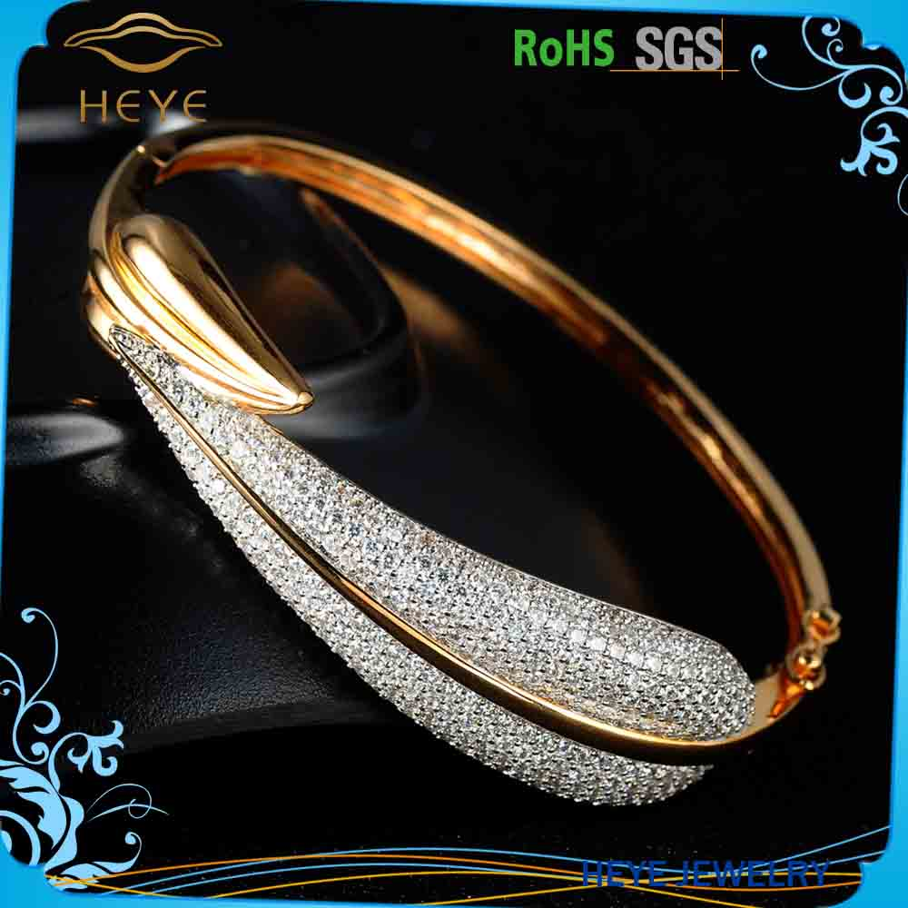 High polished simple gold metal bangle set designs