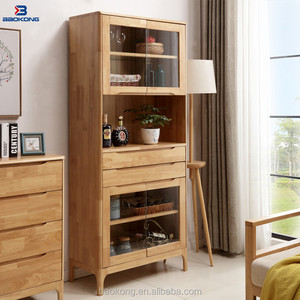 Modern Solid Wood Home Furniture Rubber Wood Display Storage Cabinet