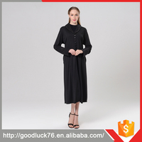 Simple But Nice Women Long Sleeve Black Kaftan Dress In Stock Wedding Dress 2016 Long Sleeve