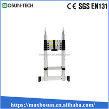 3.8m 12 steps aluminium double sides telescopic ladder with hinge best service