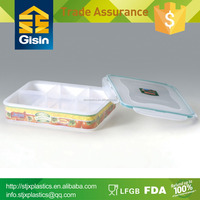 6 divider plastic food container with divider