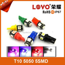low defective rate white t10 led bulb 5050smd 5leds 6000K t10 5w5 canbus car led auto bulb from Facotry