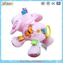 Australian Jollybaby Plush Animals Pink Elephant Pull String Musical Toys For Baby and Kids