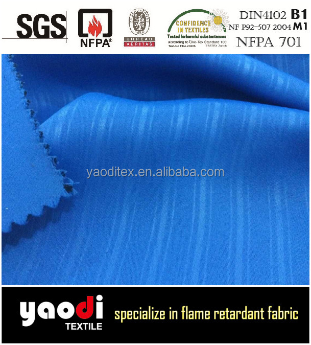 Wholesales 100% polyester fire retardant printing strip blackout curtain fabric