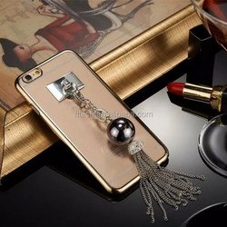 New design crystal chain tassel case/transparent clear phone case for iphone 6/6 plus