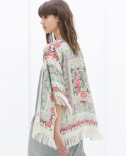 LS19 OEM in CHINA spain style chiffon kimono cardigan Regular Floral print blouse with tassel