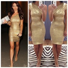 new women one shoulder celebrity gold foil bandage dresses sexy prom ladies party promotion drop shiping HL bandage dresses