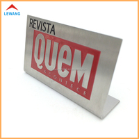 Cheap Price Custom L Shape Metal Sign Holder / Magazine Advertising Display Label Holder
