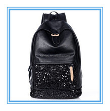 2014 fashion hiking women large one compartment cheap leather black sequin backpack bags