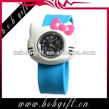 2014 Trendy Hello kitty shaped silicone slap band watch for kids