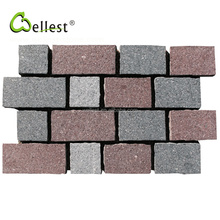 Mixed Color Top Flamed Sides Split Mesh Granite Interlocking Pavers