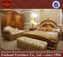 0062 High end wooden carved bed Russian style bedroom furniture