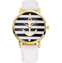 WHITE Navy Watch. Nautical Anchor Geneva Watch Excellent Quality with gold tone
