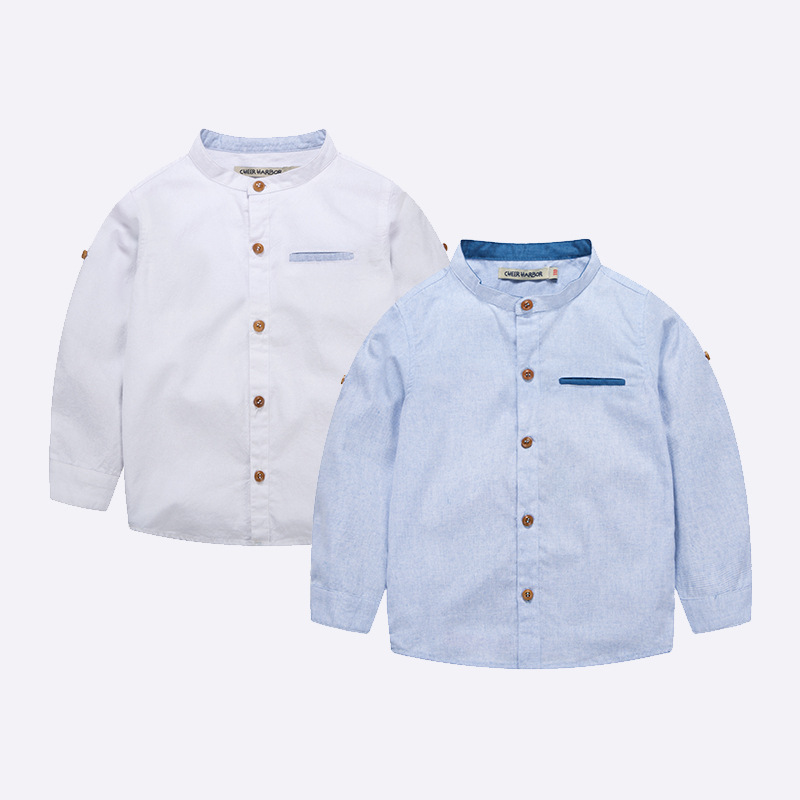 MS83709M spring 2017 pure color kids shirts boys fashion tops