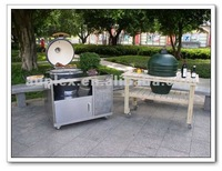 Open bbq grill stainless steel table with drawer
