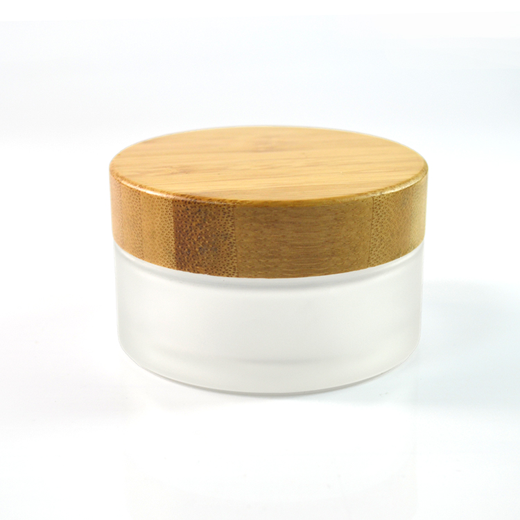 glass jar cosmetics packaging bamboo lid face cream container glass cream jar with bamboo cap