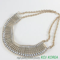 KN-165 gold crystal stone necklace ostume jewelry