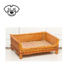 Wholesale cool rattan pet bed with cushion,wicker pet basket