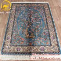 3x4.5ft Flower blue Turkish design oriental handmade tree of life silk carpet