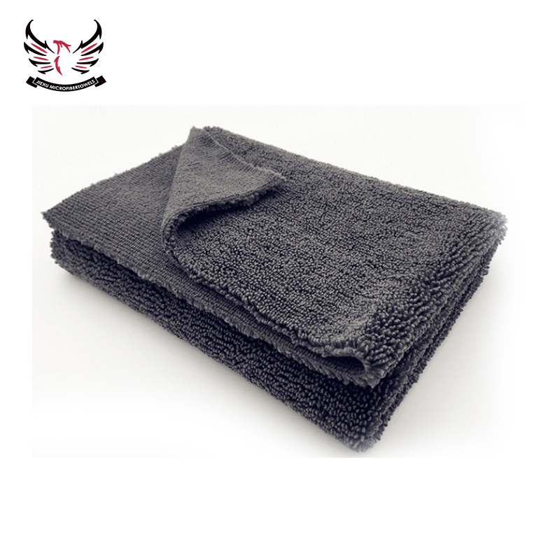 red microfiber long and short pile car cleaning towel for washing