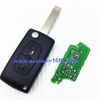 car key for peugeot 307 2button flip remote key 433.92mhz wuith ID 46CHIP 0536model uncut balde(with groove)