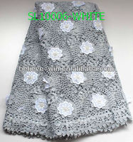 2013 popular watersoluble embroidery fabric with flowers and shinning sequin lace