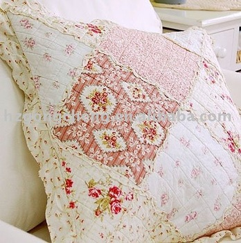 100% cotton floral chenille patchwork cushion