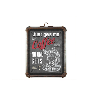 Promotional Metal Tin Board/ Metal Coffee Signs Frame In Wall Hanging Decoration