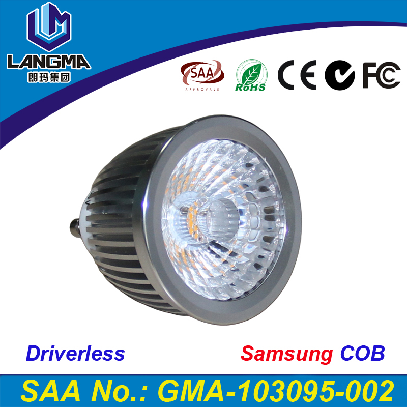 Langma <strong>China</strong> supplier 5years warranty GU10 dimmable Samsung AC COB 440Lumens 38 degree cob 6W driverless LED spotlight