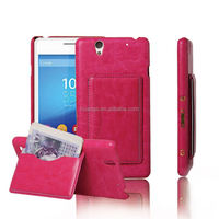 Wallet Back leather Customized stand phone case for Sony Xperia C4
