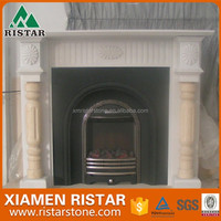 Natural white marble limestone fireplace surround FP-K038