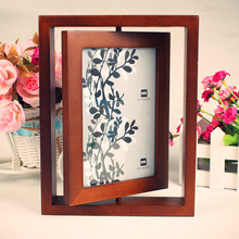 Wholesale custom cheap wooden rotating photo frame
