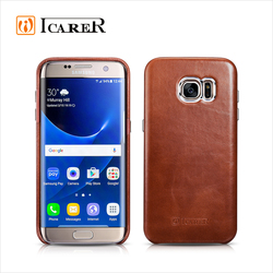 ICARER Vintage Genuine Leather Back Case Cover for Samsung Galaxy S7 Edge