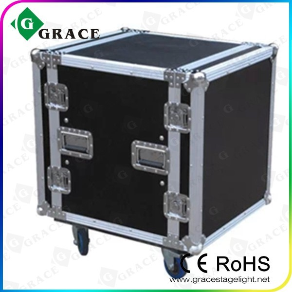 12u DJ ,power amplifier protection flight case with 4 wheels