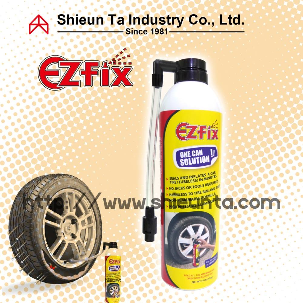 Sealer and inflator car tire repaired by fill punctured tire aerosol spray