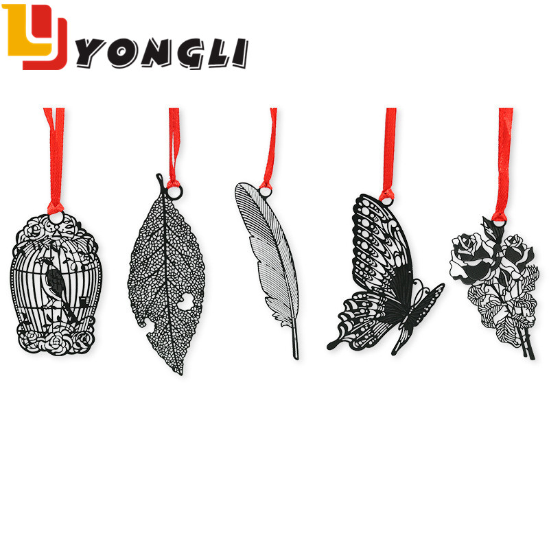 Promotional Customised Design Black Laser Cutting Metal Bird Butterfly Bookmarks