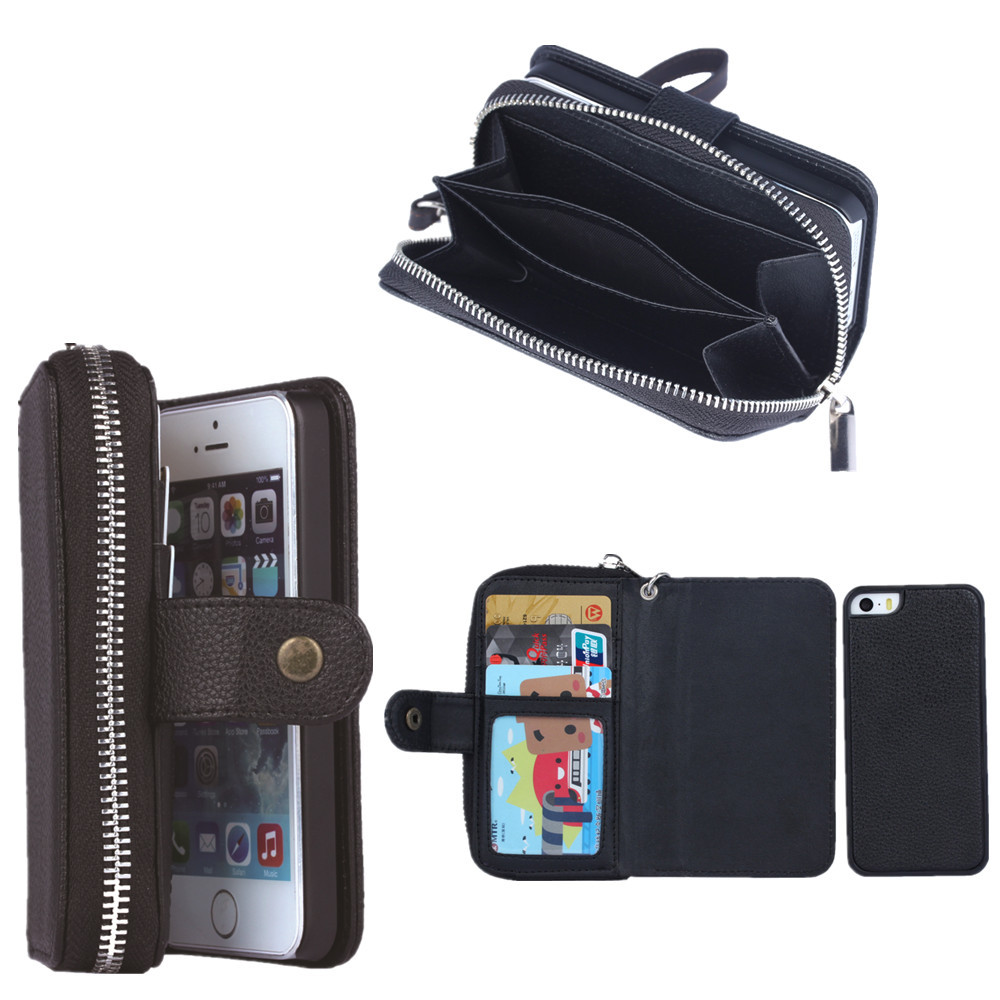 New Fashion Multifunction Wallet Phone Case Cover Handbag Card Slots For iPhone5/5S PU leather Zipper bag factory price