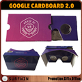 Custom logo printing VR google cardboard 2.0 virtual reality 3d glasses for new Iphone
