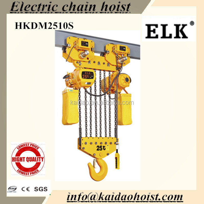 heavy equipment 25ton Electric Chain hoist & crane with electric trolley/25ton hoist