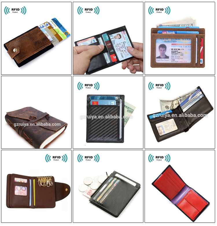 Hot Selling RFID Blocking Money Clip Carbon Fiber Leather card holder Slim Front Pocket Wallets for Men