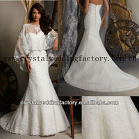 Sweetheart beaded free shipping mermaid lace wedding dresses with cape CWFaw5073