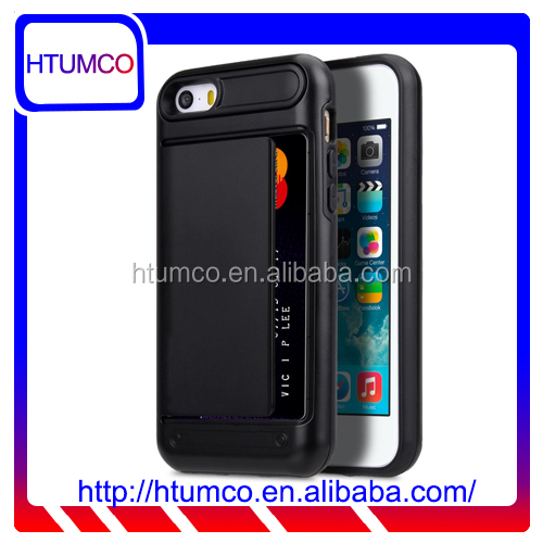 Black Snap Cover Card Slot Leather Case for Apple iPhone 5S / 5 / SE